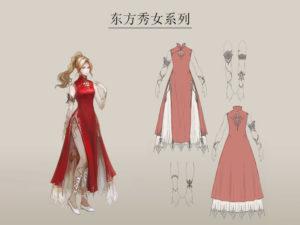 artwork complet de la robe chinoise