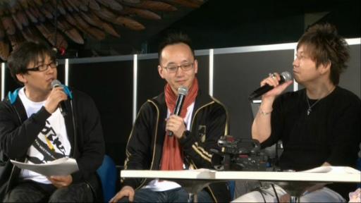 Kimura, Sakai et Yoshida à l'annonce de la collaboration entre PSO2 et FFXIV