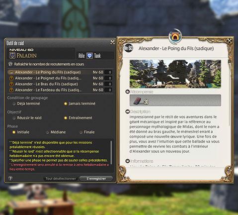 capture d'écran de l'outil de raid ajouté par la mise à jour 3.3