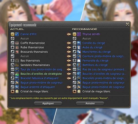 capture d'ecran du systeme d'equipements recommandes du patch 3.3