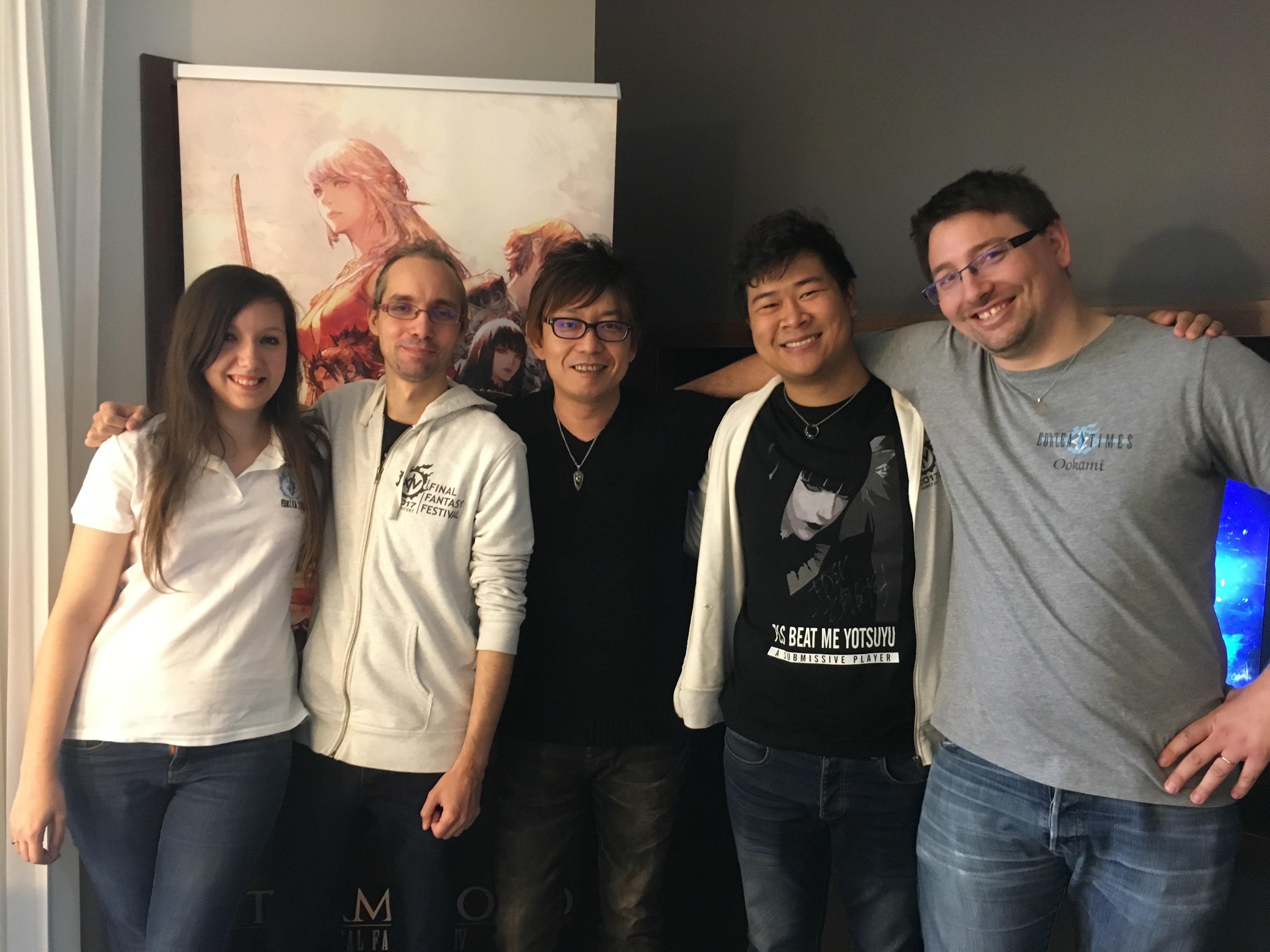 Les équipes d'Eorzea Times et de Finaland avec Naoki Yoshida lors de notre interview de la Paris Games Week 2017